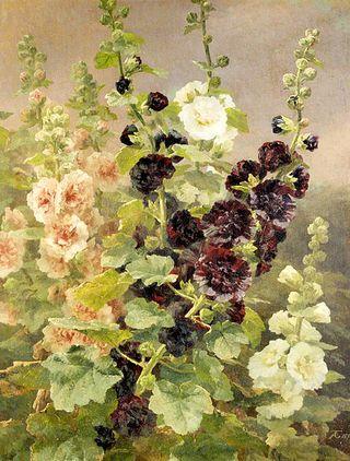 Anthonore_Christensen_-_Hollyhocks,_1894